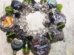 Art: Frankensteins Bride Altered Art Halloween Bracelet ooak by Artist Lisa  Wiktorek