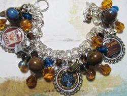 Art: Vintage Coffee House Altered Art Charm Bracelet ooak ebsq by Artist Lisa  Wiktorek