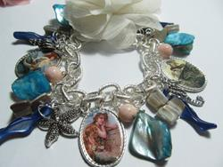 Art: Vintage Mermaid Altered Art Charm Bracelet by Artist Lisa  Wiktorek
