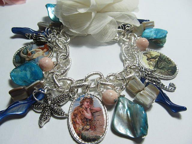 Art: Vintage Mermaid Altered Art Charm Bracelet by Artist Lisa  Wiktorek