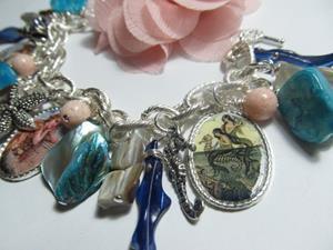 Detail Image for art Vintage Mermaid Altered Art Charm Bracelet