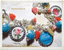 Art: Mother's Day Altered Art Charm Bracelet handmade ooak by Artist Lisa  Wiktorek
