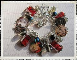 Art: Vintage Paris Altered Art Charm Bracelet by Artist Lisa  Wiktorek