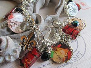 Detail Image for art Vintage Paris Altered Art Charm Bracelet