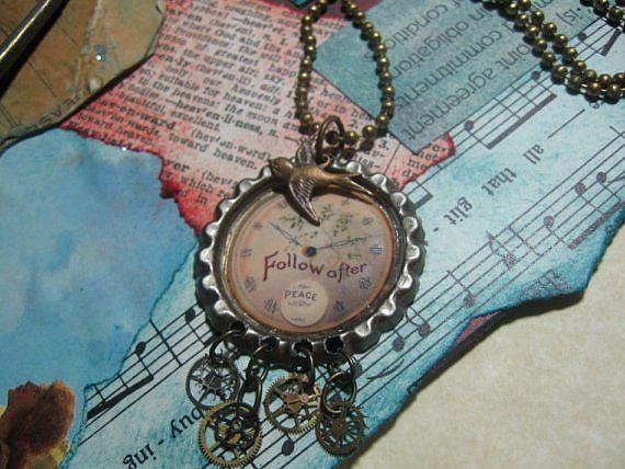 Art: Follow Time    Altered Art Charm Necklace   by Artist Lisa  Wiktorek
