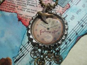 Detail Image for art Follow Time    Altered Art Charm Necklace