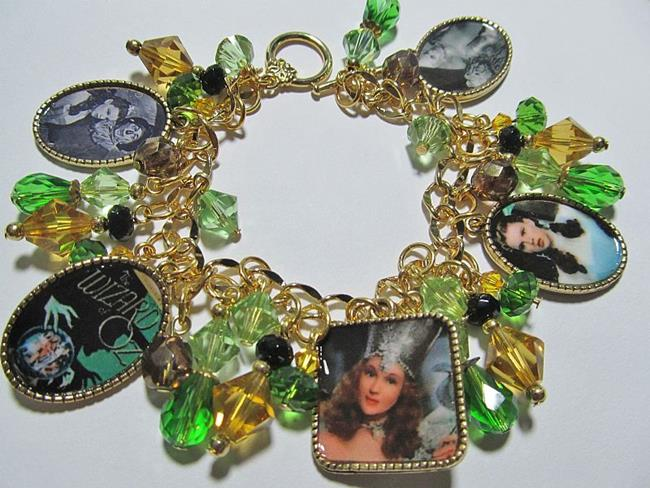 Art: Wizard of OZ Altered Art Charm Bracelet ooak by Artist Lisa  Wiktorek