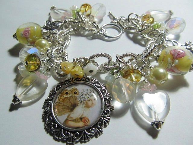 Art: Butterfly Fairy in Yellow Altered Art Charm Bracelet by Artist Lisa  Wiktorek