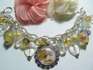 Detail Image for art Butterfly Fairy in Yellow Altered Art Charm Bracelet
