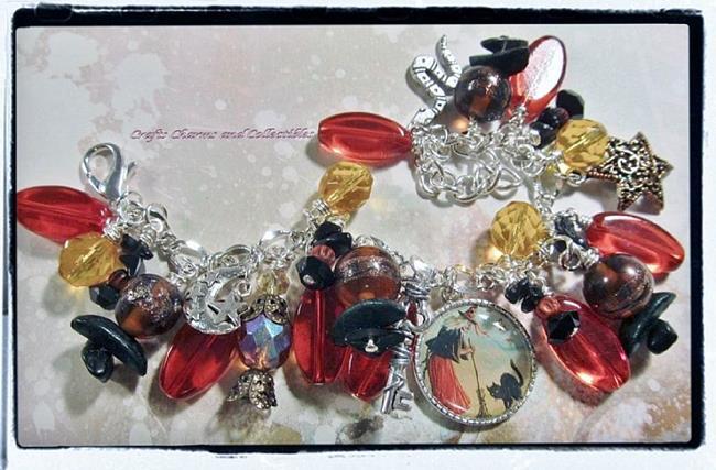 Art: Witch's Den Altered Art Charm Bracelet by Artist Lisa  Wiktorek