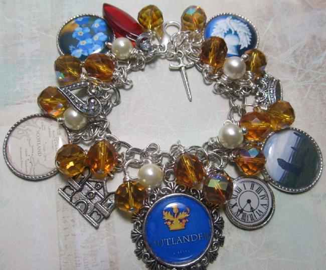 Art: Outlander altered art charm bracelet by Artist Lisa  Wiktorek