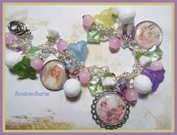 Art: Easter Lillies Altered Art Charm Bracelet by Artist Lisa  Wiktorek
