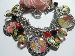 Art: Vintage Valentines Day Altered Art Charm Bracelet by Artist Lisa  Wiktorek