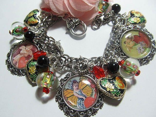 Art: Vintage Valentines Day Altered Art Charm Bracelet by Artist Lisa  Wiktorek