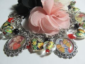 Detail Image for art Vintage Valentines Day Altered Art Charm Bracelet
