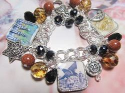 Art: Alchemy~ Altered Art Charm Bracelert ooak by Artist Lisa  Wiktorek