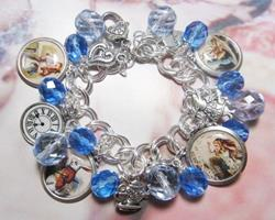 Art: Alice In Wonderland Altered Art Charm Bracelet by Artist Lisa  Wiktorek