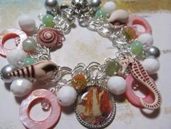 Art: Mermaids Grotto Altered ARt Charm Bracelet ooak by Artist Lisa  Wiktorek