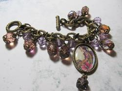 Art: FAIRY~child fairy~Altered Art Charm Bracelet ooak by Artist Lisa  Wiktorek