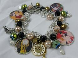 Art: Happy New Year! Altered Art charm Bracelet ooak by Artist Lisa  Wiktorek