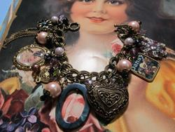 Art: Vintage Ephemera~Romance~Altered Art Charm Bracelet ooak by Artist Lisa  Wiktorek