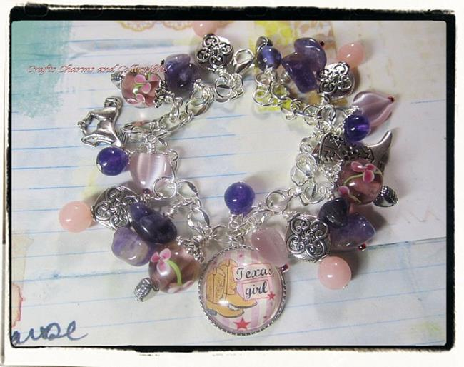 Art: Texas Girl! altered art charm bracelet by Artist Lisa  Wiktorek