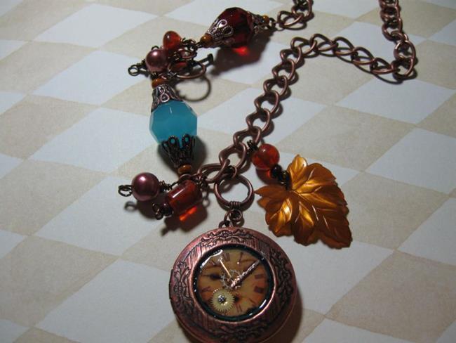 Art: Steampunk copper locket  Altered Art Necklace   by Artist Lisa  Wiktorek
