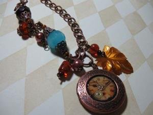 Detail Image for art Steampunk copper locket  Altered Art Necklace