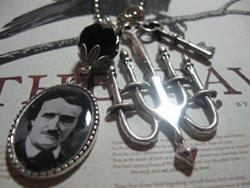 Art: Edgar A. Poe  Altered Art Charm Necklace  by Artist Lisa  Wiktorek