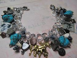 Art: WESTERN HORSES Altered Art Charm Bracelet by Artist Lisa  Wiktorek