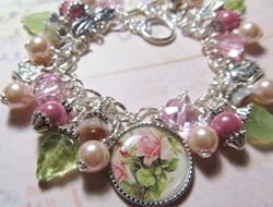 Art: Tea Rose Altered Art Charm Bracelet ooak by Artist Lisa  Wiktorek