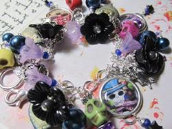Art: Day of the Dead Altered Art Charm Bracelet by Artist Lisa  Wiktorek
