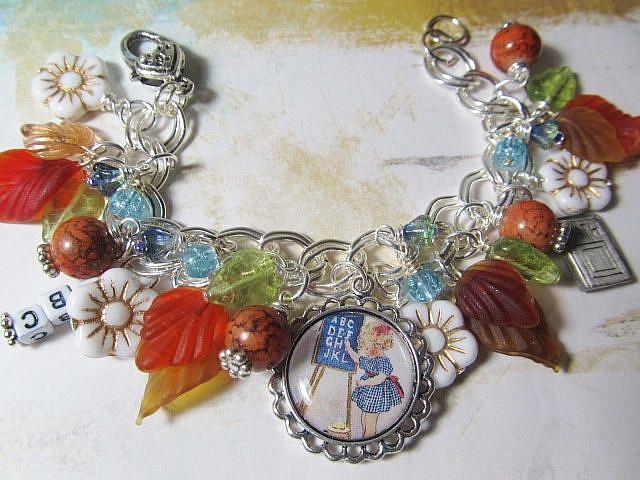 Art: School Days Altered Art Charm Bracelet ooak by Artist Lisa  Wiktorek