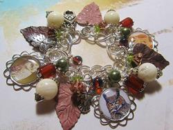 Art: Fall Owls Altered Art Charm Bracelet ooak by Artist Lisa  Wiktorek