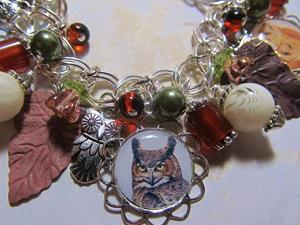 Detail Image for art Fall Owls Altered Art Charm Bracelet ooak