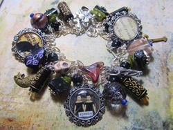 Art: Witches Brew~Prim~Altered Art Charm Bracelet ooak by Artist Lisa  Wiktorek