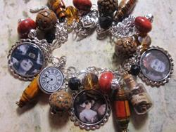 Art: The Witching Hour Halloween Altered Art Charm Bracelet by Artist Lisa  Wiktorek