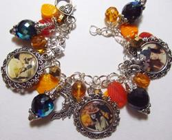 Art: Vintage Witch Altered Art charm Bracelet ooak by Artist Lisa  Wiktorek