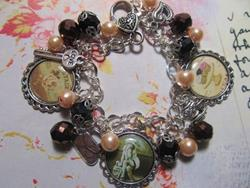 Art: Vintage Ephemera Altered Art Charm Bracelet ooak by Artist Lisa  Wiktorek
