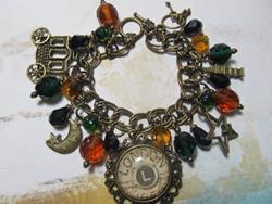 Art: Vintage London Nights Altered Art Charm Bracelet ooak ebsq by Artist Lisa  Wiktorek