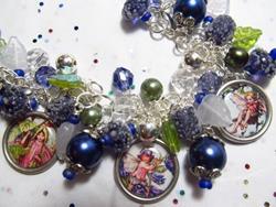 Art: Sugarplum Fairies Altered Art Charm Bracelet by Artist Lisa  Wiktorek