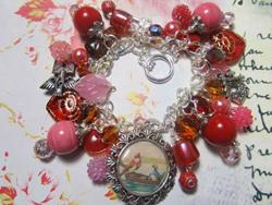 Art: Love Birds postcard Altered Art Charm Bracelet ooak by Artist Lisa  Wiktorek