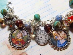 Detail Image for art Alice in Wonderland Altered art charm bracelet ooak