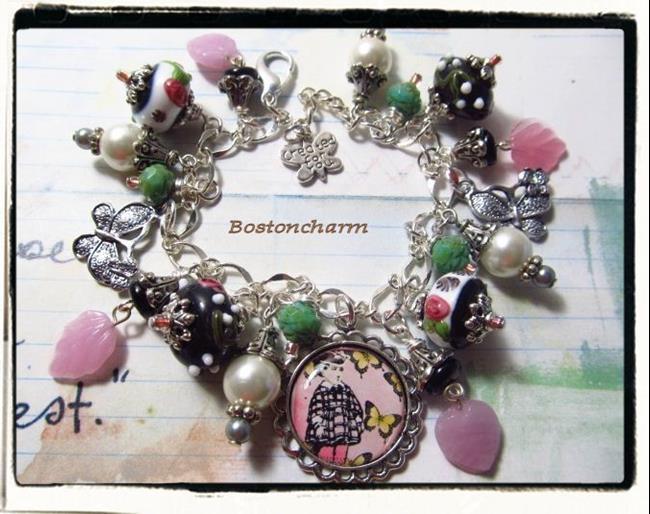 Art: Butterflies Altered art charm bracelet ooak handmade by Artist Lisa  Wiktorek