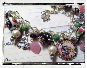 Detail Image for art Butterflies Altered art charm bracelet ooak handmade