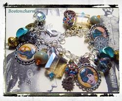 Art: Steampunk Altered art charm bracelet handmade ooak by Artist Lisa  Wiktorek