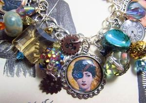 Detail Image for art Steampunk Altered art charm bracelet handmade ooak