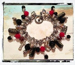 Art: Vampires Altered art charm bracelet by Artist Lisa  Wiktorek
