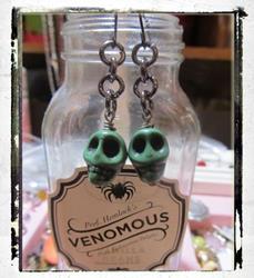 Art: Skull Halloween Earrings ooak by Artist Lisa  Wiktorek