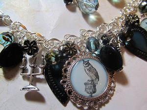 Detail Image for art Halloween Magic Altered Art Charm Bracelet Halloween handmade